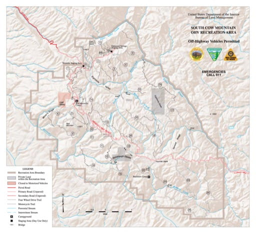 Trails Map of the southern part of Cow Mountain Recreation Management Area (RMA) in California. Published by the Bureau of Land Management (BLM).
