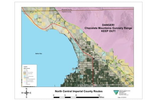 Map of Routes of Travel for North Central Imperial County in El Centro Field Office area. Published by the Bureau of Land Management (BLM).