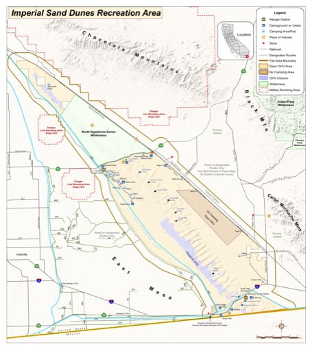 Map of Routes of Travel for Imperial Sand Dunes Recreation Area (RA) in El Centro Field Office area. Published by the Bureau of Land Management (BLM).