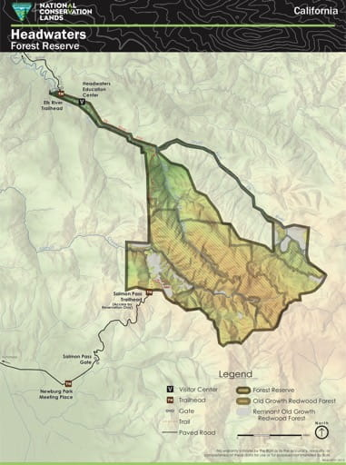 Visitor Map of Headwaters Forest Reserve in California. Published by the Bureau of Land Management (BLM).