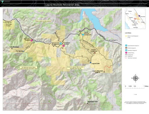 Map of Laguna Mountain Recreation Area (RA) in California. Published by the Bureau of Land Management (BLM).