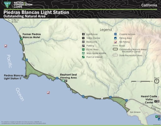 Visitor Map of Piedras Blancas Light Station Outstanding Natural Area (ONA) in California. Published by the Bureau of Land Management (BLM).