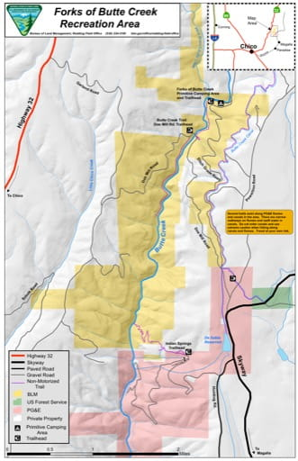 Recreation Map of Forks of Butte Creek Recreation Area (RA) in California. Published by the Bureau of Land Management (BLM).