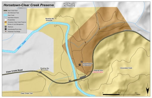 Recreation Map of Horsetown-Clear Creek Preserve in California. Published by the Bureau of Land Management (BLM).