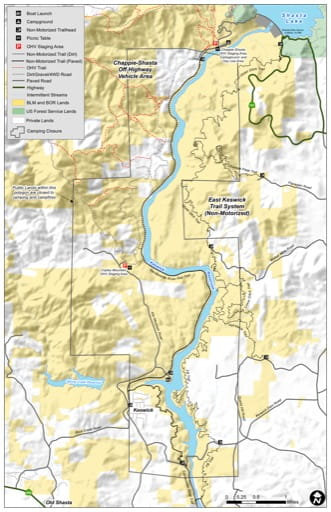 Map of the East Keswick Trail System (on-Motorized) south of Shasta Lake in California. Published by the Bureau of Land Management (BLM).