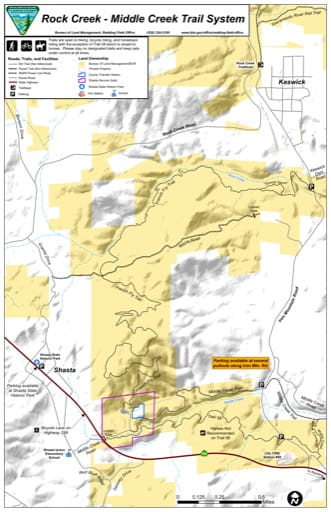 Map of the Rock Creek - Middle Creek Trail System south of Keswick in California. Published by the Bureau of Land Management (BLM).