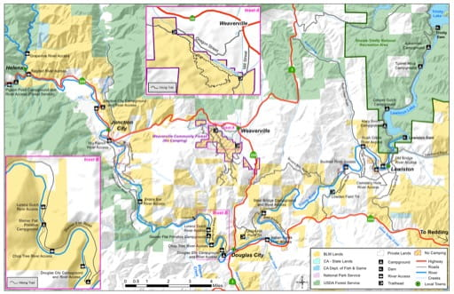 Recreation Map of the Trinity River area near Redding in California. Published by the Bureau of Land Management (BLM).