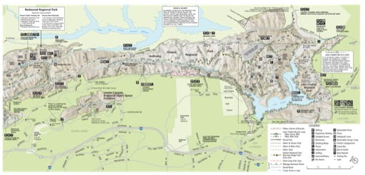 Trails Map of Anthony Chabot Regional Park part of the East Bay Regional Park District in California. Published by the East Bay Regional Park District.