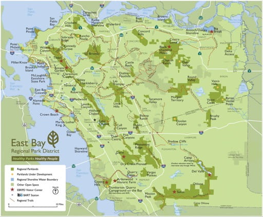 Overview Map of the East Bay Regional Park District in California. Published by the East Bay Regional Park District.