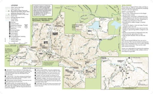 Trails Map of Black Diamond Mines Regional Preserve part of the East Bay Regional Park District in California. Published by the East Bay Regional Park District.