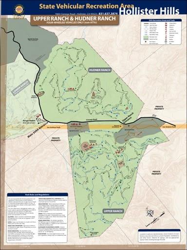 map of Hollister Hills - Upper Ranch and Hudner Ranch
