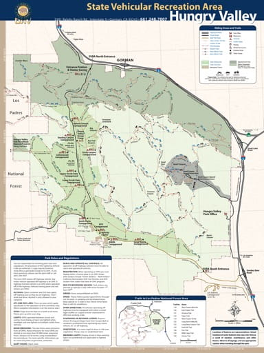 Trail Map of Hungry Valley State Vehicular Recreation Area (SVRA) near Gorman in California. Published by the California Department of Parks and Recreation.