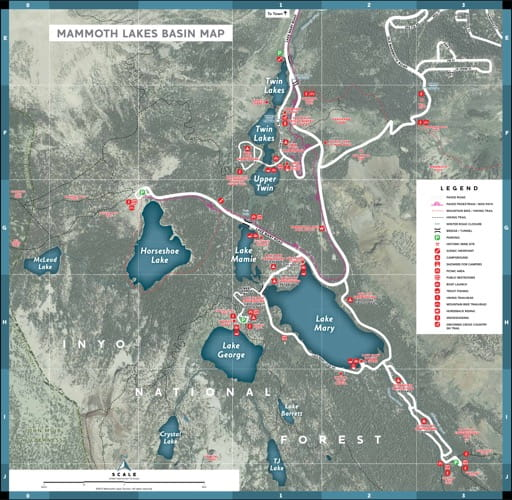 map of Mammoth Lakes Basin - Trail System
