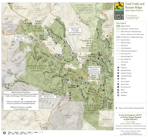 Trail Map of Coal Creek and Russian Ridge Open Space Preserve (OSP) in California. Published by the Midpeninsula Regional Open Space District.