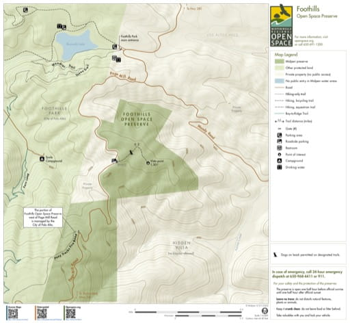 Trail Map of Foothils Open Space Preserve (OSP) in California. Published by the Midpeninsula Regional Open Space District.