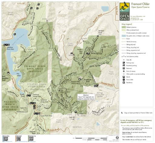 Trail Map of Fremont Older Open Space Preserve (OSP) in California. Published by the Midpeninsula Regional Open Space District.