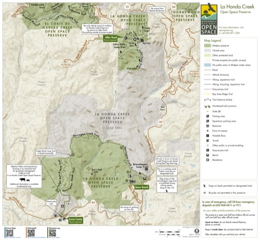 Trail Map of La Honda Creek Open Space Preserve (OSP) in California. Published by the Midpeninsula Regional Open Space District.