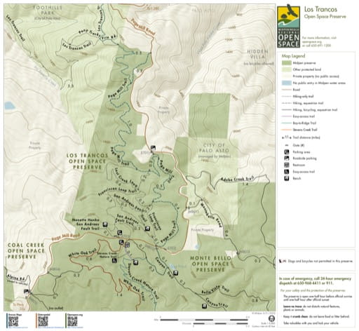 Trail Map of Los Trancos Open Space Preserve (OSP) in California. Published by the Midpeninsula Regional Open Space District.