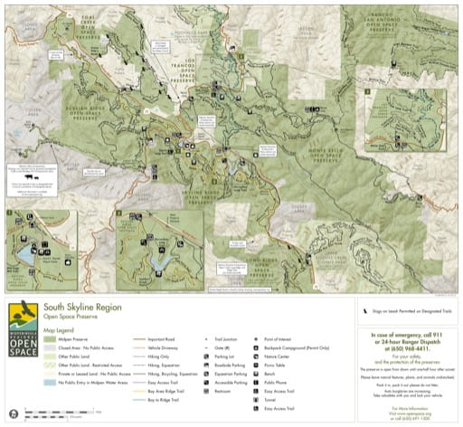 Trail Map of South Skyline Open Space Preserve (OSP) in California. Published by the Midpeninsula Regional Open Space District.