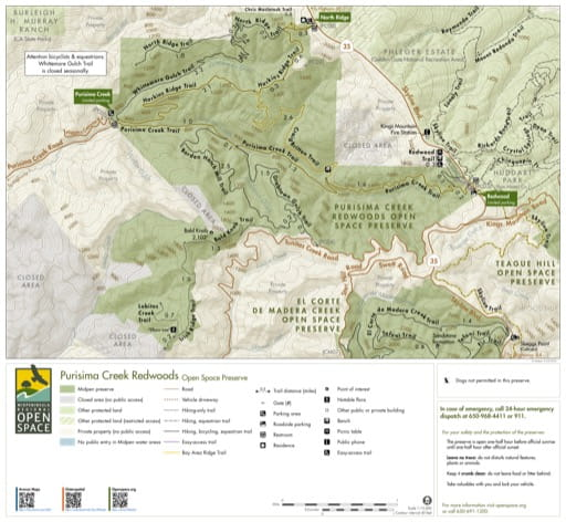 Trail Map of Purisima Creek Redwoods Open Space Preserve (OSP) in California. Published by the Midpeninsula Regional Open Space District.