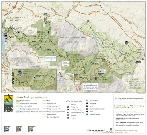 Trail Map of Sierra Azul Open Space Preserve (OSP) in California. Published by the Midpeninsula Regional Open Space District.