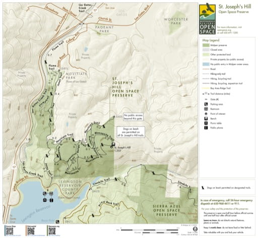 Trail Map of St. Joseph's Hill Open Space Preserve (OSP) in California. Published by the Midpeninsula Regional Open Space District.