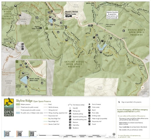 Trail Map of Skyline Ridge Open Space Preserve (OSP) in California. Published by the Midpeninsula Regional Open Space District.
