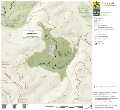 Trail Map of Thornewood Open Space Preserve (OSP) in California. Published by the Midpeninsula Regional Open Space District.