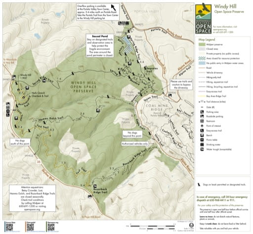 Trail Map of Windy Hill Open Space Preserve (OSP) in California. Published by the Midpeninsula Regional Open Space District.