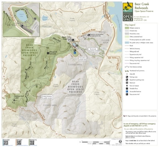 Trail Map of Bear Creek Redwoods Open Space Preserve (OSP) in Midpeninsula Regional Open Space in California. Published by the Midpeninsula Regional Open Space District.