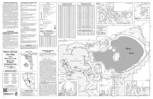 Motor Vehicle Use Map (MVUM) of the Mono Lake area in Inyo National Forest (NF) in California. Published by the U.S. Forest Service (USFS).