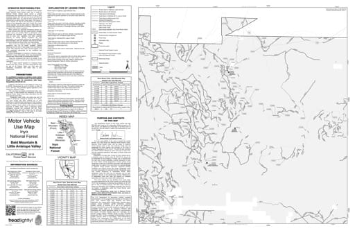 Motor Vehicle Use Map (MVUM) of the Bald Mountain area in Inyo National Forest (NF) in California. Published by the U.S. Forest Service (USFS).