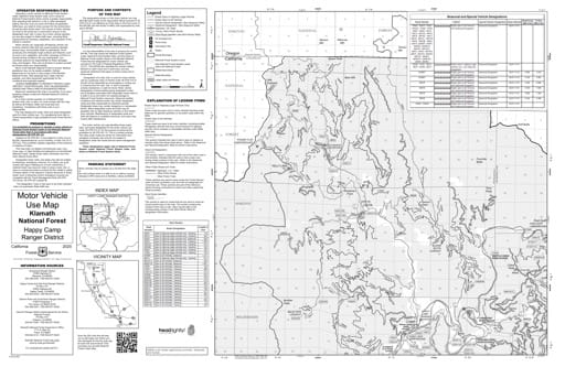 Motor Vehicle Use Map (MVUM) of Happy Camp Ranger District North in Klamath National Forest (NF) in California. Published by the U.S. Forest Service (USFS).