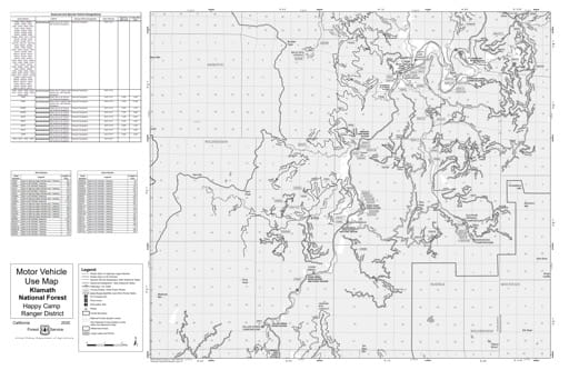 Motor Vehicle Use Map (MVUM) of Happy Camp Ranger District South in Klamath National Forest (NF) in California. Published by the U.S. Forest Service (USFS).