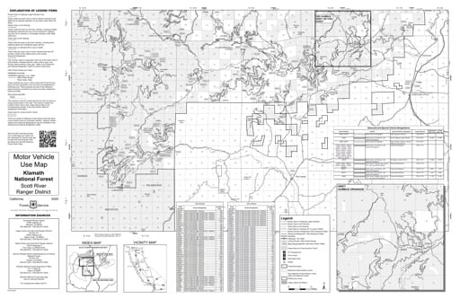 Motor Vehicle Use Map (MVUM) of Scott River Ranger District North in Klamath National Forest (NF) in California. Published by the U.S. Forest Service (USFS).