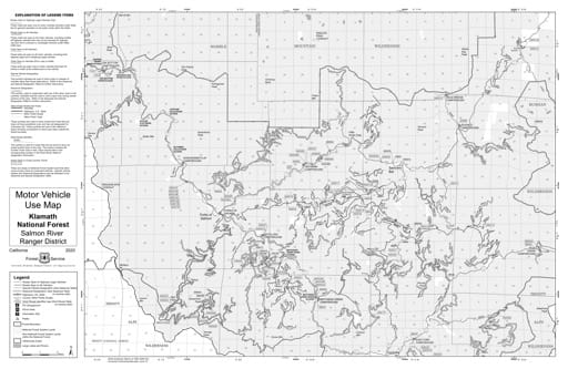 Motor Vehicle Use Map (MVUM) of Salmonn River Ranger District North in Klamath National Forest (NF). Published by the U.S. Forest Service (USFS).