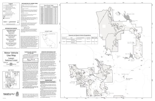 Map 1a of the Motor Vehicle Use Map (MVUM) of the Lassen National Forest (NF) in California. Published by the U.S. Forest Service (USFS).