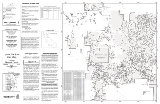 Map 2a of the Motor Vehicle Use Map (MVUM) of the Lassen National Forest (NF) in California. Published by the U.S. Forest Service (USFS).