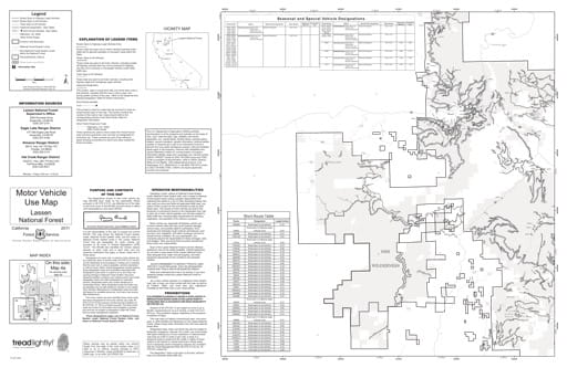 Map 4a of the Motor Vehicle Use Map (MVUM) of the Lassen National Forest (NF) in California. Published by the U.S. Forest Service (USFS).