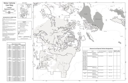 Map 4b of the Motor Vehicle Use Map (MVUM) of the Lassen National Forest (NF) in California. Published by the U.S. Forest Service (USFS).