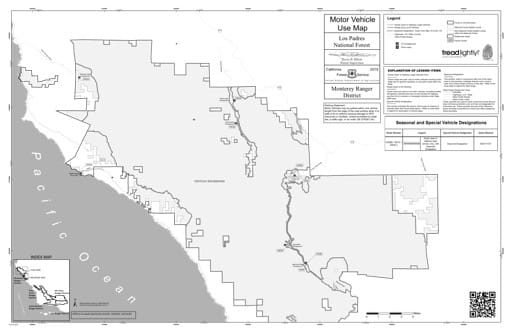 Motor Vehicle Use Map (MVUM) of the Northern part of the Monterey Ranger District (RD) of Los Padres National Forest (NF) in California. Published by the U.S. Forest Service (USFS).