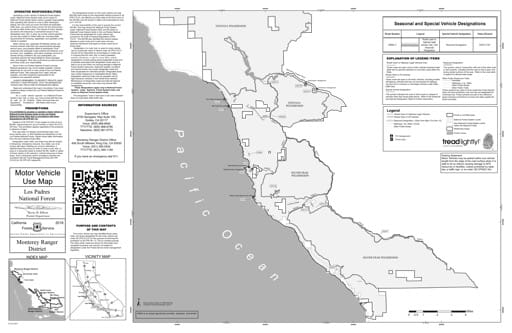 Motor Vehicle Use Map (MVUM) of the Southern part of the Monterey Ranger District (RD) of Los Padres National Forest (NF) in California. Published by the U.S. Forest Service (USFS).