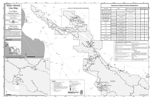 Motor Vehicle Use Map (MVUM) of the Santa Lucia Ranger District (RD) of Los Padres National Forest (NF) in California. Published by the U.S. Forest Service (USFS).
