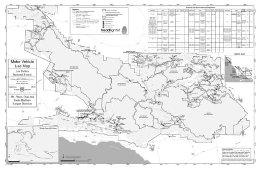 Motor Vehicle Use Map (MVUM) of Mt. Pinos, Ojai and Santa Barbara Ranger Districts (RD) of Los Padres National Forest (NF) in California. Published by the U.S. Forest Service (USFS).