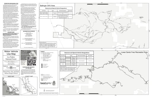 Motor Vehicle Use Map (MVUM) of the Ballinger Off-Highway Vehicle area (OHV) in the Los Padres National Forest (NF) in California. Published by the U.S. Forest Service (USFS).