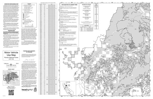 Motor Vehicle Use Map (MVUM) of Jarbo Gap in Plumas National Forest (NF) in California. Published by the U.S. Forest Service (USFS).