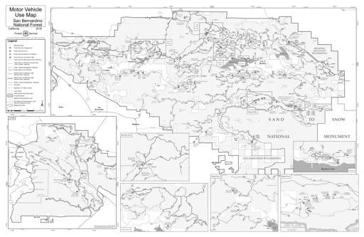 map of San Bernadino MVUM - San Bernadino and San Gabriel Mountains 2018