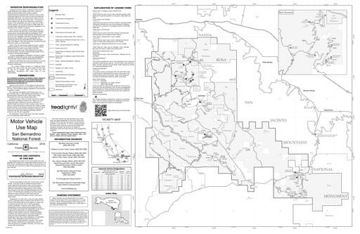 map of San Bernadino MVUM - San Jacinto Mountains 2018