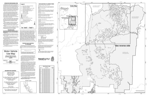 Motor Vehicle Use Map (MVUM) of the Kern River North area in Sequoia National Forest (NF) in California. Published by the U.S. Forest Service (USFS).