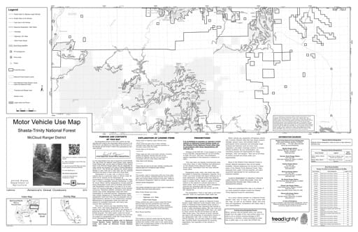 Motor Vehicle Use Map (MVUM) of McCloud Ranger District South in Shasta-Trinity National Forest (NF). Published by the U.S. Forest Service (USFS).